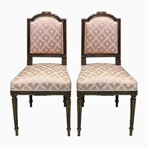 Vintage Louis XVI Style Beech Dining Chairs, Set of 2