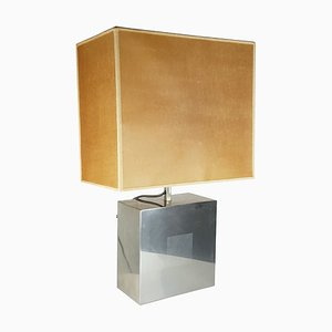Italian Blond Vellum, Fabric, and Silver Metal Table Lamp, 1970s