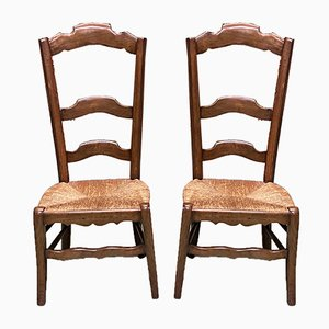 19th Century Beech Straw High Chairs, Set of 2