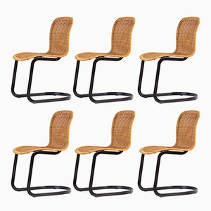 Italian Modern Cane Chairs from Cidue, 1970s, Set of 6