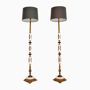Marble & Gilt Metal Floor Lamps, 1950s, Set of 2