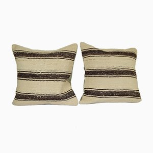 Organic Minimalist Turkish Cushion Covers, Set of 2