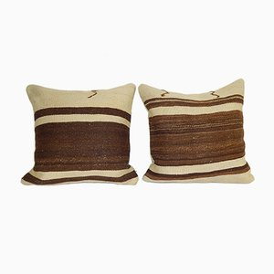 Organic Wool Striped Hemp Kilim Cushion Covers, Set of 2