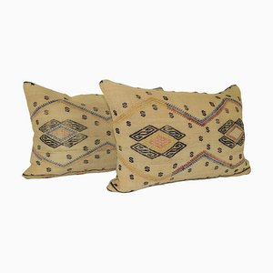 Turkish Lumbar Kilim Cushion Covers with Ethnic Tribal Decor, Set of 2
