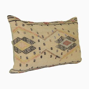 Nomadic Handmade Turkish Kilim Natural Lumbar Kilim Cushion Cover