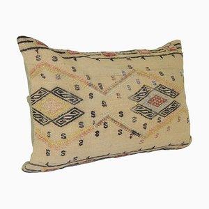 Nomadic Handmade Turkish Kilim Natural Lumbar Kilim Cushion Cover