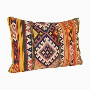 Trendy Large Lumbar Kilim Chevron Cushion Cover