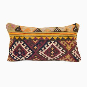 Geometrical Turkish Lumbar Kilim Cushion Cover