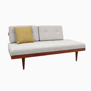 German Teak Daybed with Grey Upholstery