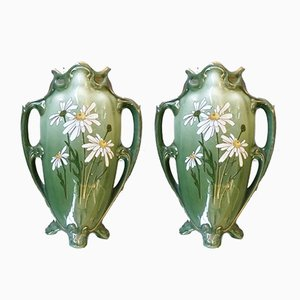 Jugendstil Vasen von K & G Luneville, 2er Set