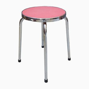 French Round Chrome Formica Kitchen Stool, 1960s
