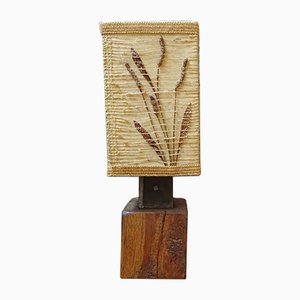 French Wooden Table Lamp with Dried Flowers, 1960s