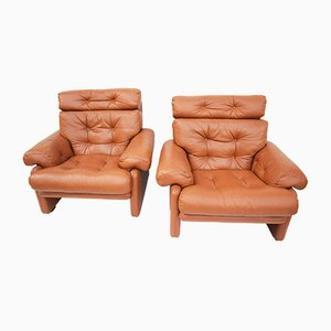 Coronado High Back Lounge Chairs by Tobia & Afra Scarpa for B&B Italia / C&B Italia, 1976, Set of 2