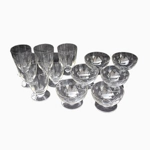 Vintage Water Glasses and Champagne Cups from Sèvres, Set of 12