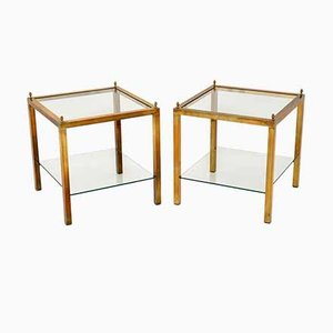 Vintage Brass & Glass Side Tables, 1960s, Set of 2