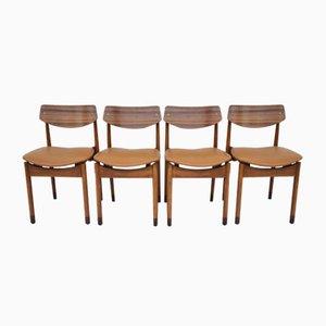 Mid-Century Buchenholz Esszimmerstühle, Italien, 1960er, 4er Set