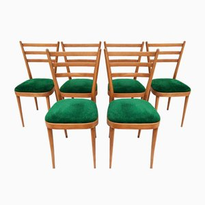 Mid-Century Dining Chairs in Natural Beech, Italy, 1960s, Set of 6