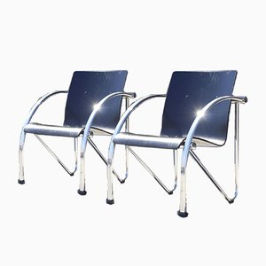 French Modernist Chrome Steel and Black Wood Lounge Chairs, 1970s, Set of 2
