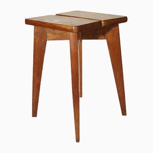 Mid-Century French Oak Stool by Marcel Gascoin, 1950s