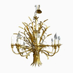 Chandelier with Ears of Wheat in Gold-Plated Sheet Metal, 1970s