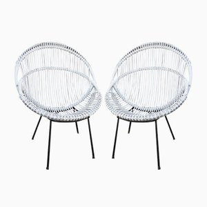 Chairs in Manao Cane and Rattan, Italy, 1950s, Set of 2