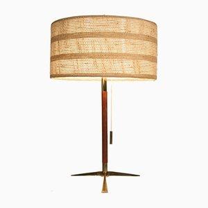 Lámpara de escritorio Mid-Century de latón y teca de JT Kalmar, Austria, años 50