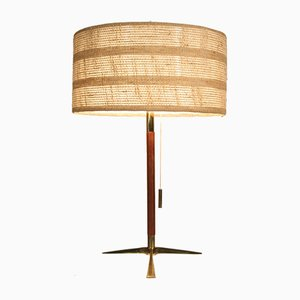 Mid-Century Desk Lamp in Brass and Teak by J. T. Kalmar, Austria, 1950s