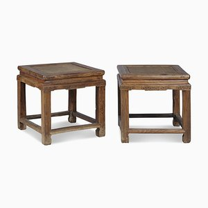 Antique Chinese Beech Stools, Set of 2