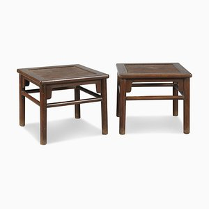 Antique Oriental Meditation Stools, Set of 2
