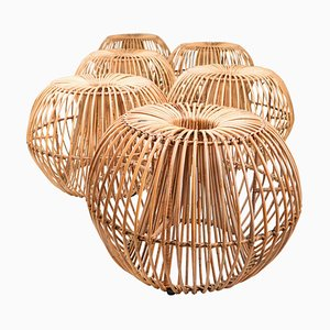 Mid-Century Modern Wicker Ottoman, Stool or Side Table in the Style of Franco Albini, 1950s