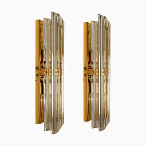 Murano Glass and Gilt Brass Sconces in the Style of Venini, Italy, 1970s, Set of 2