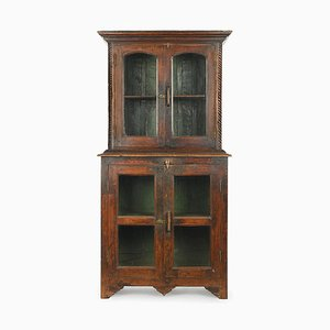 Glass Cabinet in Patinated Wood, 1940s
