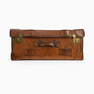 English Wood and Leather Suitcase, 1920s