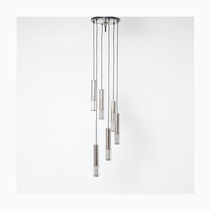 Pendant Lamp with 6 Chrome & Glass Cylinders from Raak, 1970s