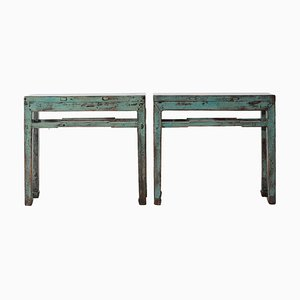 Blue Lacquer Side Tables, 1920s, Set of 2