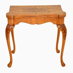 Queen Anne Style Burr Walnut Card Table, 1930s