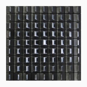 Black Enameled Ceramic Optical Wall Sculpture, 1970s