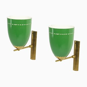 Italian Green Aluminum and Brass Adjustable Sconces, 1950s, Set of 2