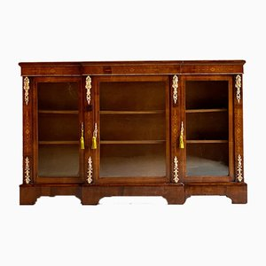 Antique Napoleon III Walnut Inlaid Breakfront Bookcase, 1870s