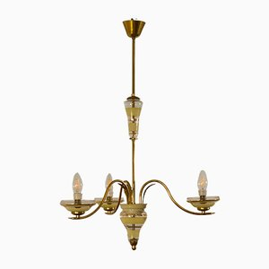 Vintage Murano Glass Gold and Brass Ceiling Lamp from Stilnovo, 1950s