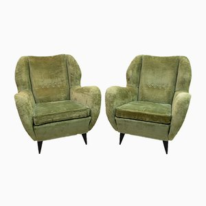 Mid-Century Italian Linen Velvet Lounge Chairs by Gio Ponti for ISA Bergamo, 1950s, Set of 2