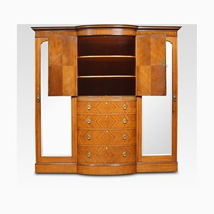 19th Century Sheraton Revival Satinwood Compactum Wardrobe