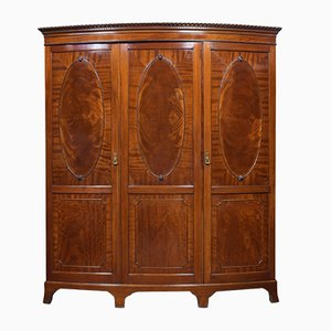 Antique Mahogany Bow Fronted Compactum Wardrobe