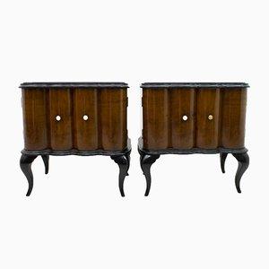 Art Deco Italian Walnut and Ebonized Wood Nightstands, 1920s, Set of 2
