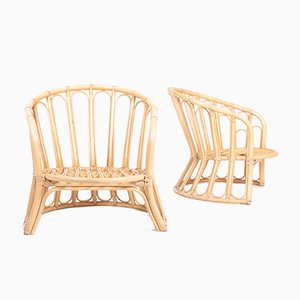 Mid-Century Danish Bamboo Lounge Chairs, 1960s, Set of 2