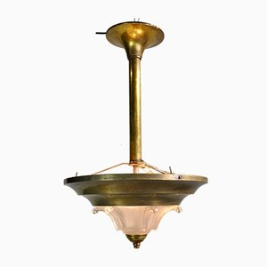 Art Deco Brass and Glass Ceiling Lamp, 1920s