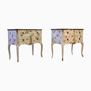Vintage Hummingbird Louis XV Style Chest of Drawers, Set of 2