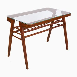 Mid-Century Sculptural Coffee Table with Glass Top