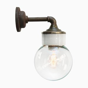 Vintage Industrial White Porcelain and Clear Glass Sconce