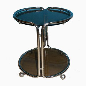 Vintage Round Chrome and Tinted Glass Bar Trolley, 1970s